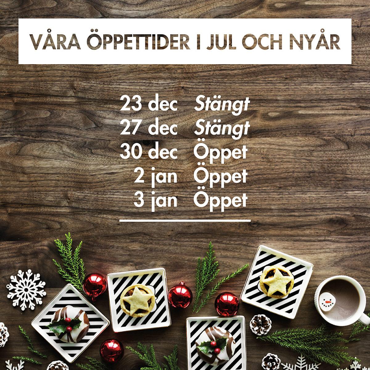 Våra öppettider i jul